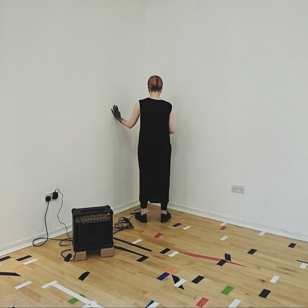 4. Michelle Hannah 'BLCK' (black dress, black trainers, black paint, black manga contact lenses, microphone, vocal pedal) 1 hour. Performance. Basic Mountain, Edinburgh. 2015