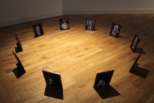 Richard Hughes installation 'Top Ten Wealthiest People In The Whole Wide World' at Ambition by Instigate Arts at HOMEmcr on Saturday 9th July 2016