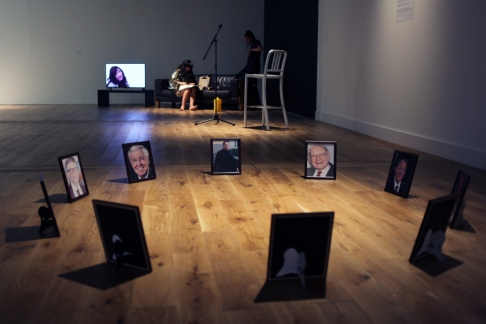 Richard Hughes installation 'Top Ten Wealthiest People In The Whole Wide World' with Trish Dee at Ambition by Instigate Arts at HOMEmcr on Saturday 9th July 2016