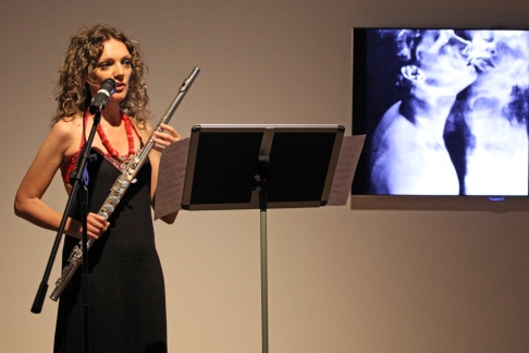 Flautist Sara Minelli performing 'Narcissus' with film by Kevin Burke at Ambition by Instigate Arts at HOMEmcr on Saturday 9th July 2016