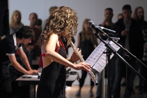 Flautist Sara Minelli and composer Matteo Giuliani performing 'Narcissus' at Ambition by Instigate Arts at HOMEmcr on Saturday 9th July 2016