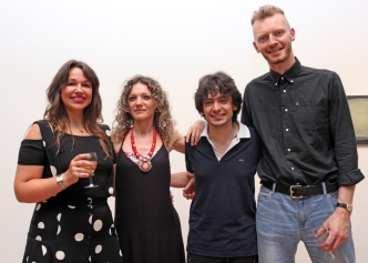 From left to right, Instigate Arts Curator Anne Louise Kershaw, Flautist Sara Minelli, composer Matteo Giuliani, Instigate Arts Curator Kevin Burke at Ambition by Instigate Arts at HOMEmcr on Saturday 9th July 2016