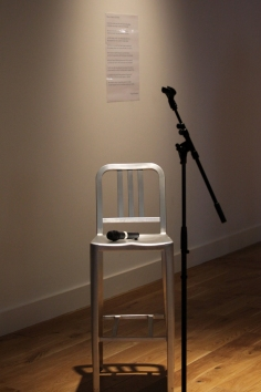 The seat for Greg Thorpe to perform 'I was never no good after that night, Charlie...' with Angela Readman's poem 'How To Make A Girl Artist in the background at Ambition by Instigate Arts at HOMEmcr on Saturday 9th July 2016
