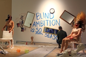 Stef Elrick & Laura McGee performing 'The Politics of Competition/Compensate' at Ambition by Instigate Arts at HOMEmcr on Saturday 9th July 2016 (with Bren O'Callahan)