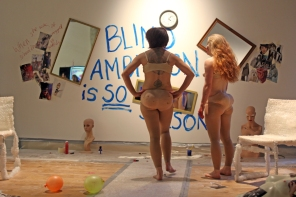 Stef Elrick & Laura McGee performing 'The Politics of Competition/Compensate' at Ambition by Instigate Arts at HOMEmcr on Saturday 9th July 2016